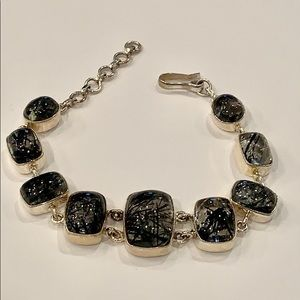 Sterling silver black art glass chunky statement